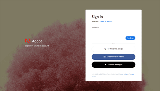 Screen shot Adobe creative cloud login page.