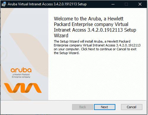 Screen shot of welcome to Aruba virtual intranet.