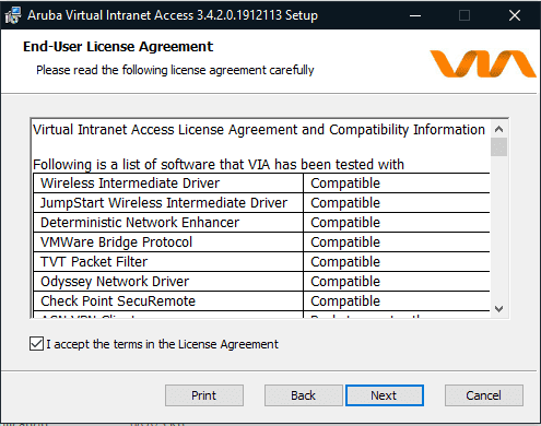 Screen shot of aruba end-user license agreement.