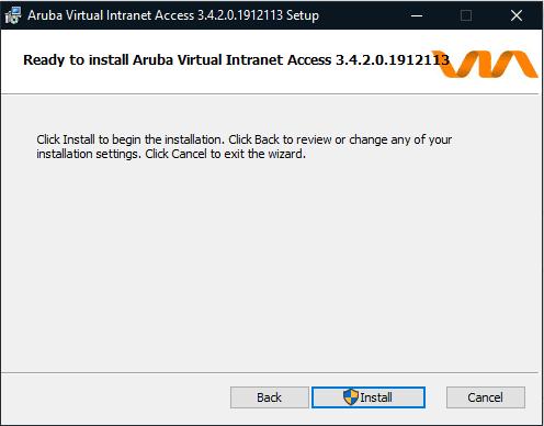 Screen shot of Aruba ready to install window.