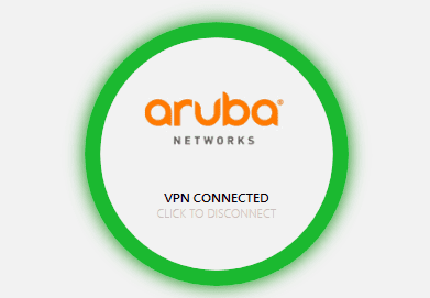 Screen shot of aruba networks vpn connected.