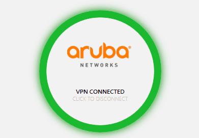 Screen shot of aruba networks vpn connected.