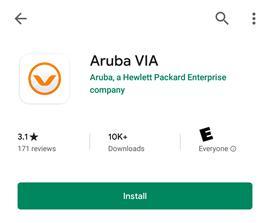 Screen shot of aruba via install button.