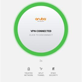 Web page snippet of aruba vpn connected.