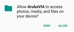 Web page snippet allow arubavia to access photos, media and files on your device.
