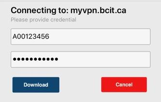Screen shot of ios provide bcit id and password fields.