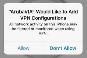 Screen shot ios aruba via add vpn configurations allow button.