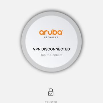 Screen shot of ios aruba via vpn disconnected button.