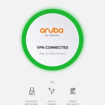 Screen shot of aruba vpn connected button.