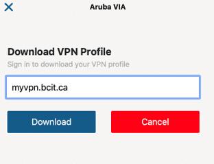 Screen shot of mac aruba via download vpn profile field.