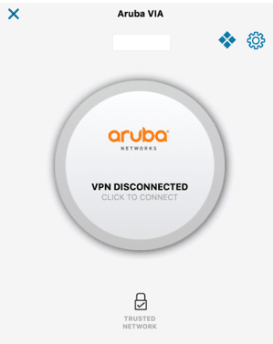 Screen shot of mac aruba vpn disconnected button.