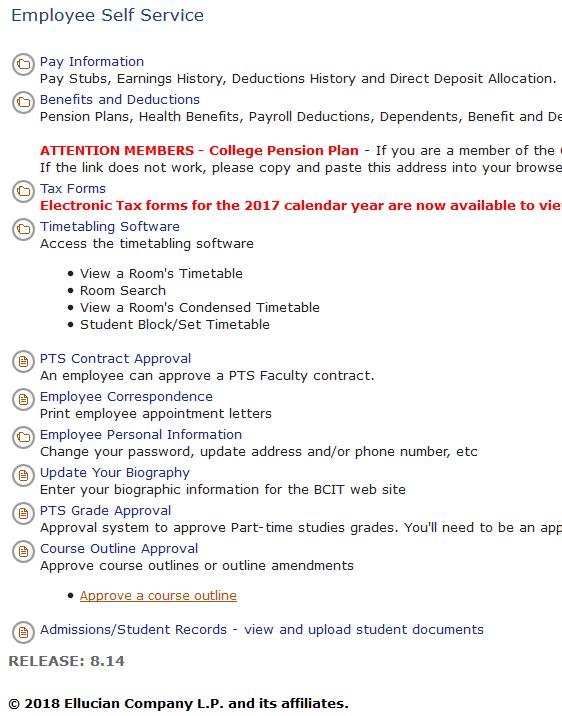 screen shot of employee self service web page.