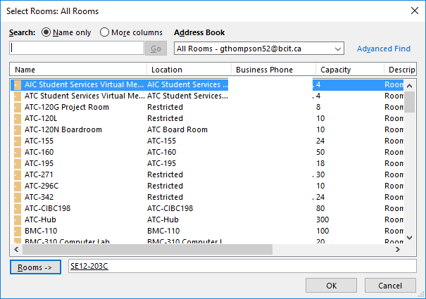 Screen shot snippet Outlook Room reservations