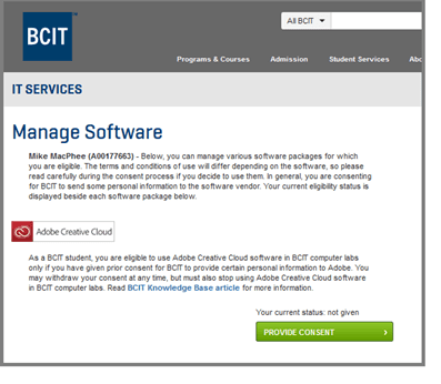 Manage software access window.
