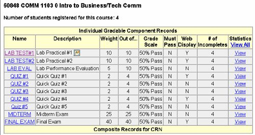 Gradebook instructions - sample web page snippet.