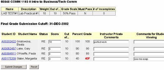 Gradebook instructions sample of business/tech comm