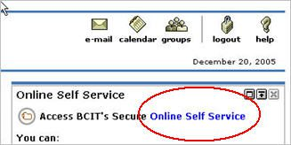 web shots of how to login to BCIT