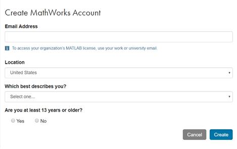 Mathworks account screenshot