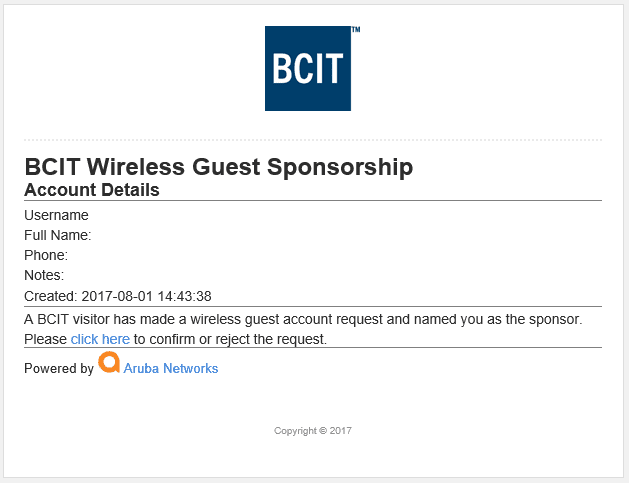 BCIT wireless guest sponsorship screen