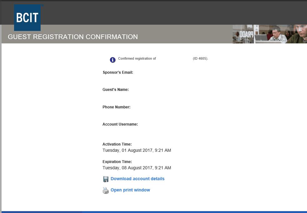 BCIT guest registration confirmation screen