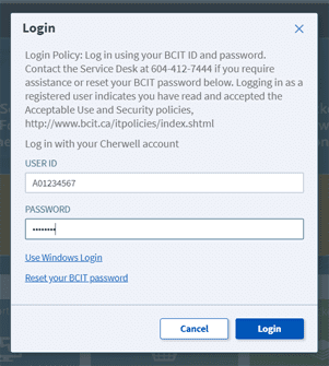 login screen for BCIT