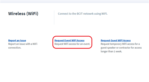 request for wireless event wifi access at BCIT