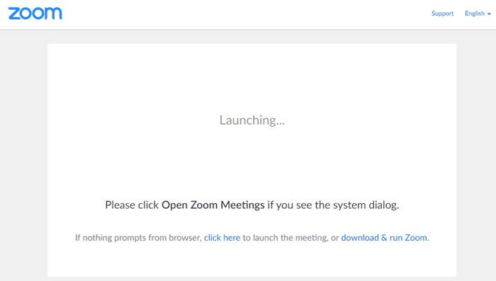 screen shot of launching Zoom
