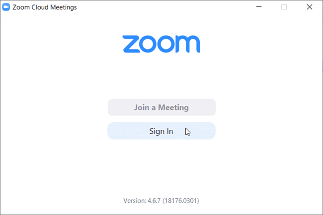 sign in screen for zoom.