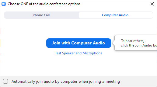 info screen to join a zoom meeting with computer audio
