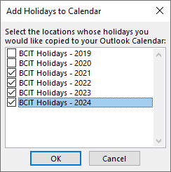 A popup window named add holidays to calendar.