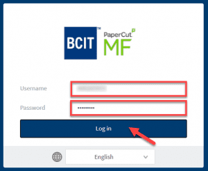 The login screen of the BCIT StudentPrint web page with a red border aorund the username and password input fields and a red arrow pointing to a blue button that says log in.