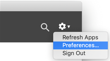 a context menu with the word preferences highlighted
