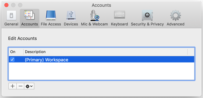 a window named accounts with a row highlighted named primary workspace