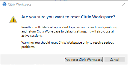 a pop-up window asking are you sure with the Yes reset Citrix Workspace button highlighted