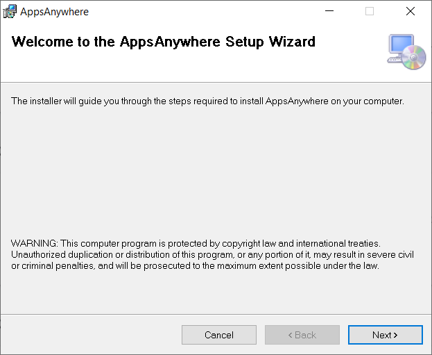 screen capture of the AppsAnywhere installer window with a Next button at the bottom right