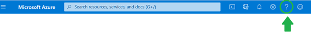 Screen capture of the Microsoft Azure site menu with a green circle and arrow indicating the location of the ? Help link