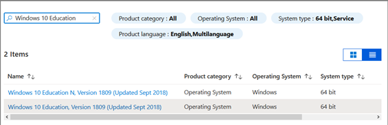 Screen capture of listings in the Azure Dev Tools storefront showing listings for Windows 10