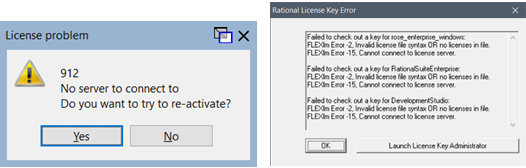 screen capture of two error messages about license problems