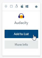 "screen capture of Audacity app tile with the cursor over a blue ""Add to List"" button"
