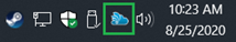 Screen capture of system tray with the blue cloud icon for CloudPaging marked by a green square
