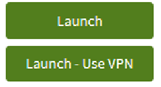 """Screen capture of two green AppsAnywhere launch buttons, one that says """"Launch"""" and the other saying """"Launch - Use VPN"""""""