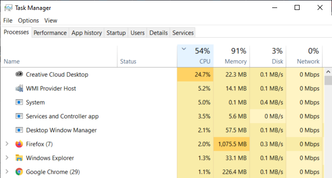 Screen capture of the task manager processes tab, sorted by CPU, showing that Adobe Creative Cloud is using 24% of CPU resources