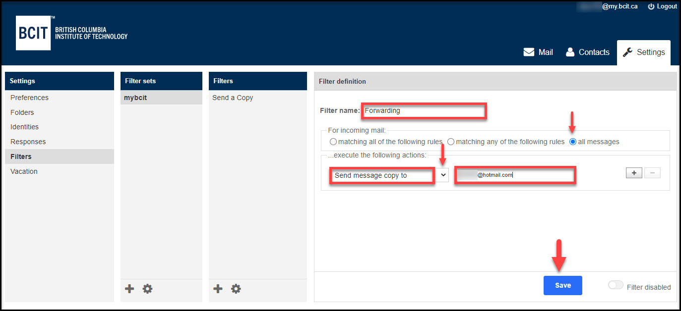 Screenshot of Filter definition entries to forward myBCIT emails