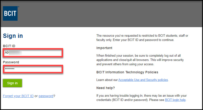 Screenshot of myBCIT SSO log in