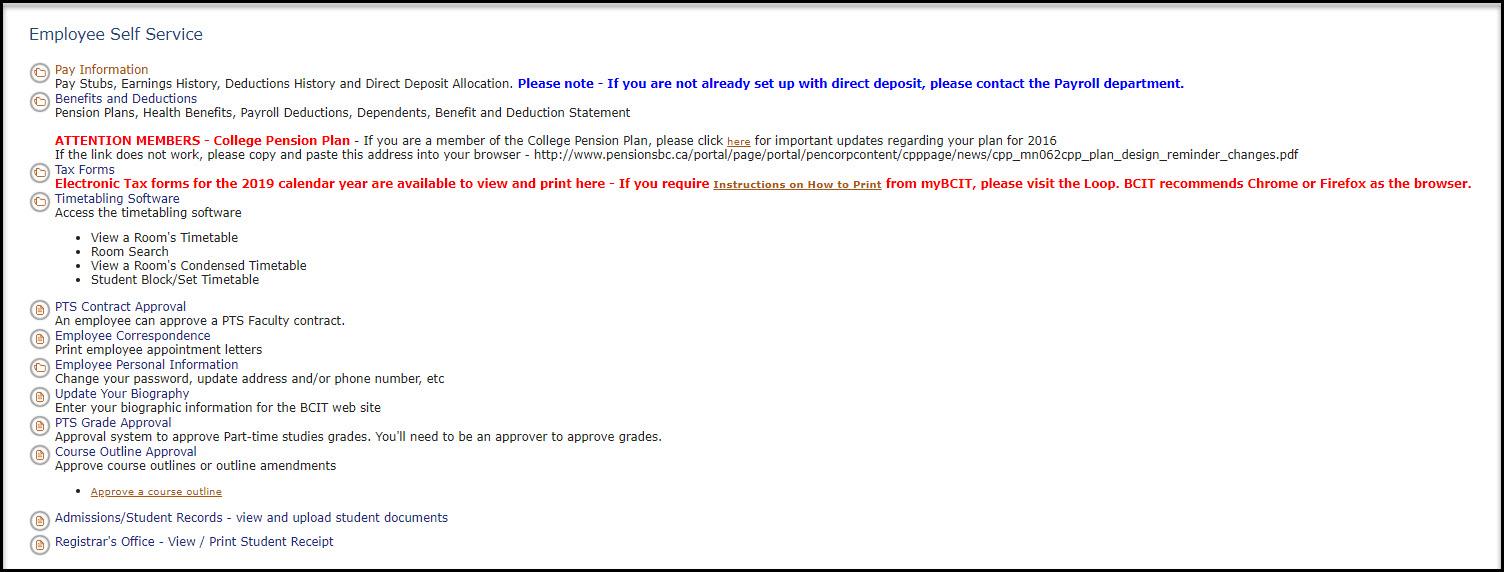 Screenshot of Employee Self Service on myBCIT