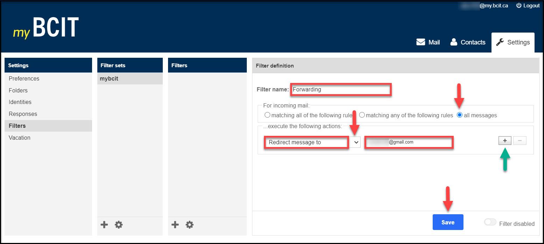 Screenshot of myBCIT Forwarding email steps