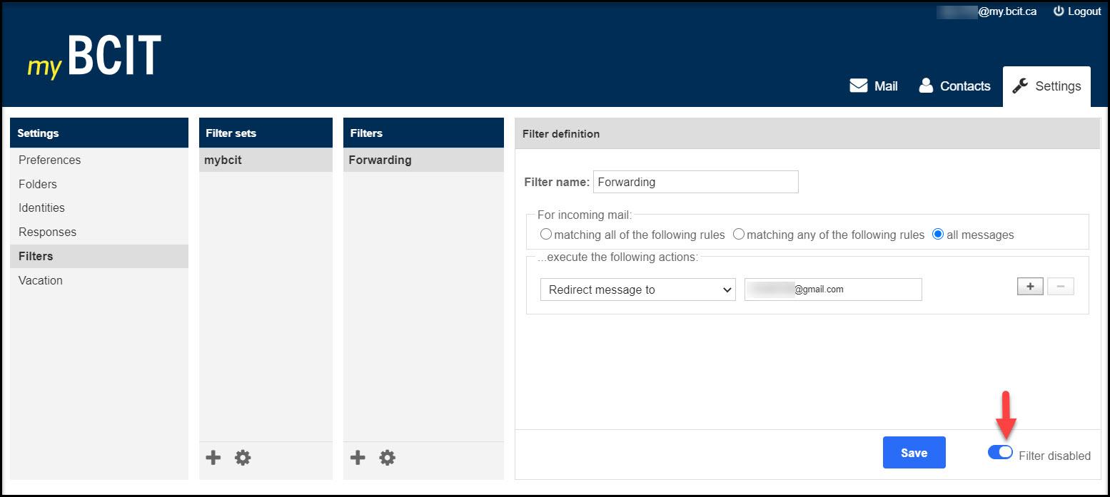 Screenshot of myBCIT Filter disabled button