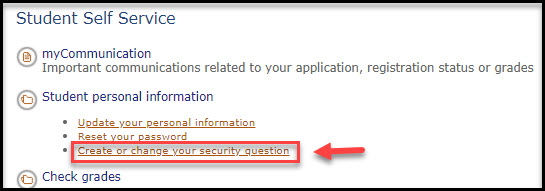 Screenshot of Create or change your security question link in myBCIT