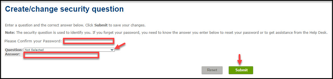 Screenshot of Create/change security question in myBCIT