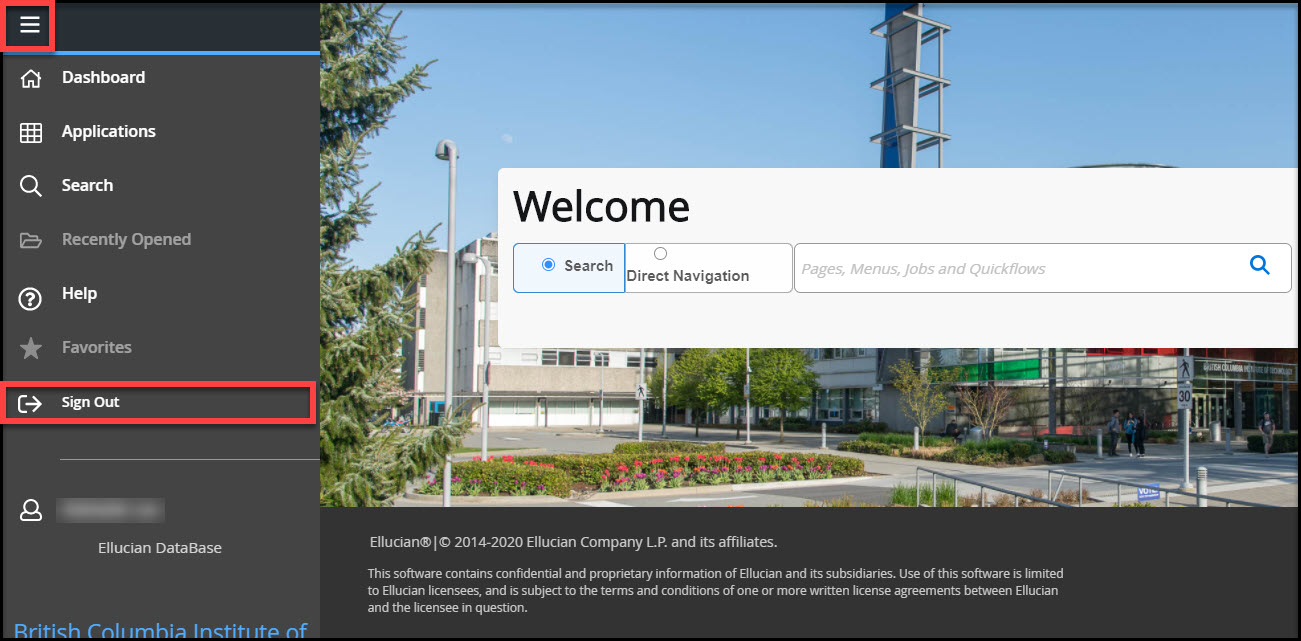 Screenshot of B9 Dashboard Sign out button